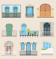 detailed balcony set in different styles vector image
