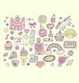 fashion girl stickers set vector image