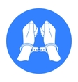 Hands in handcuffs icon in black style isolated on vector image vector image