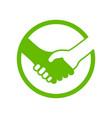 handshake circle green icon symbol logo design vector image