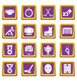 hockey icons set purple square vector image vector image