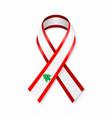 lebanese flag stripe ribbon on white background vector image vector image