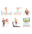man daily routine businessman work day morning vector image