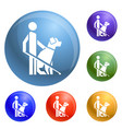 man dog guide icons set vector image