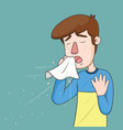 man with sneezing with spray and small drops vector image vector image
