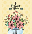 mason jar flowers branches berries decoration vector image