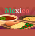 mexican food concept banner cartoon style vector image vector image