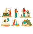 mother and badaily routine set flat vector image vector image