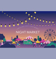night market summer fest food street fair vector image vector image