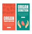 organ transplantation and donation landing page vector image