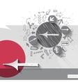 Paper and graphic arrows with icons background vector image vector image
