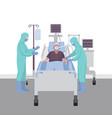 patient with coronavirus in intensive care vector image