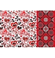 pattern set with butterflies hearts vector image vector image