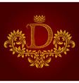 Patterned golden letter D monogram in vintage vector image vector image