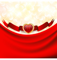 ruby heart at banner with red drapery vector image