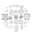 sanctuary icons set outline style vector image vector image