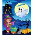 scene with halloween theme 4 vector image vector image