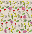 seamless pattern flowers leaves icons decoration vector image