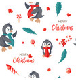seamless pattern with cute penguins hand-drawn vector image vector image