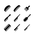 set hair comb icons in silhouette style vector image vector image