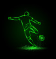 soccer striker back view football player hits vector image vector image