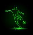 soccer striker back view football player hits vector image