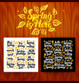 spring is here lettering postcards vector image vector image