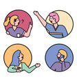 teenagers or kids portraits collection in flat vector image