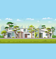 three modern family house with trees vector image vector image