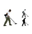 treasure hunter walking with metal detector vector image vector image