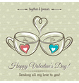 valentine card with two cup of hot drink vector image vector image