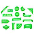 vegan badges eco organic vegetarian tags vector image vector image