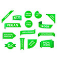 vegan badges eco organic vegetarian tags vegan vector image vector image
