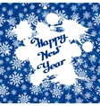 white ink splashes over blue snowflakes vector image vector image