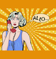 pop art vintage comic girl talking on the phone vector image