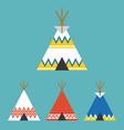 set of tee pee tent of native american vector image