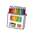 Colored pencils bright children isolated on vector image