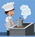 a chef cooking with pressure cooker vector image vector image
