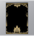 art deco getle border a4 tamplate vector image vector image