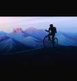 biking tour downhill sunset in mountains vector image vector image