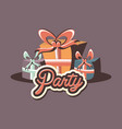 birthday gift boxes ribbon retro party vector image