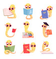 bookworm characters worms kids reading books vector image vector image