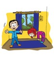 boy and girl morning exercise vector image vector image