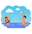 boy and girl play ball in sea vector image vector image