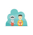 boy and robot vector image