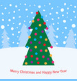 christmas tree with toys in the forest vector image vector image