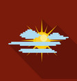 cloudy sun icon flat style vector image vector image