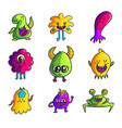 cute monsters color hand drawn characters set vector image