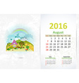 Cute sweet home calendar for 2016 August vector image vector image