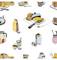 dairy products hand drawn seamless pattern milky vector image vector image